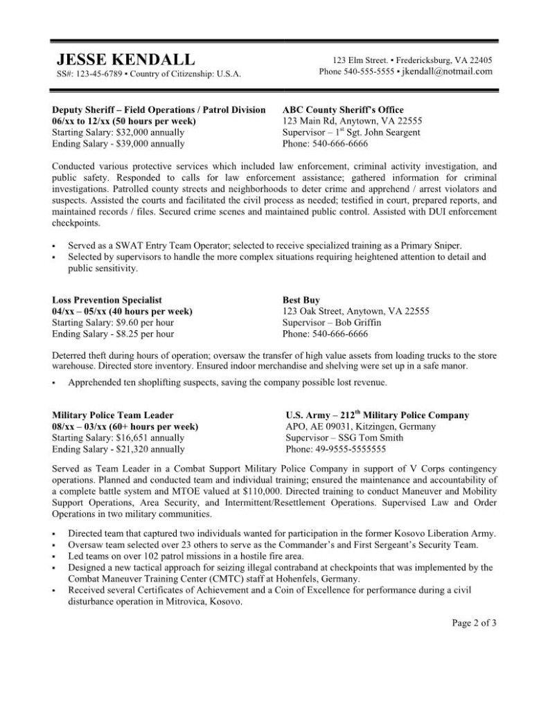 format of federal government resume free templates job examples cover letter border Resume Border Patrol Resume Template