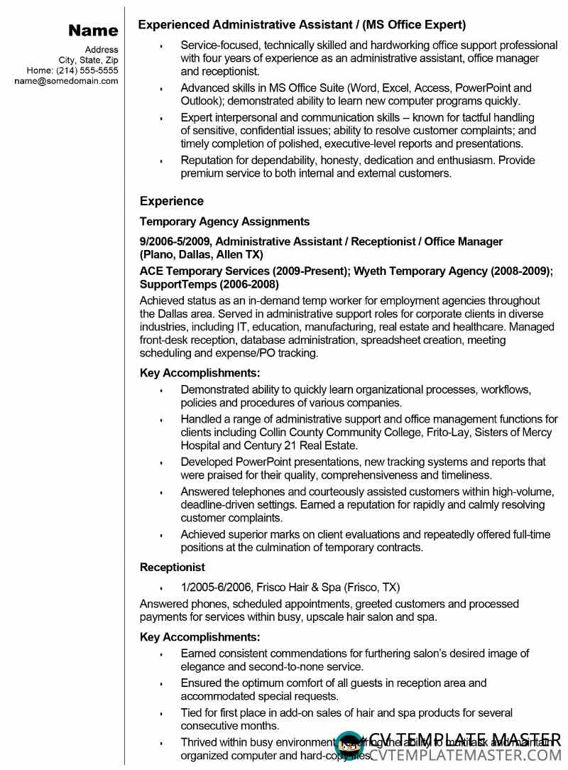 free admin assistant cv résumé example template master resume of administrative workday Resume Example Resume Of Administrative Assistant