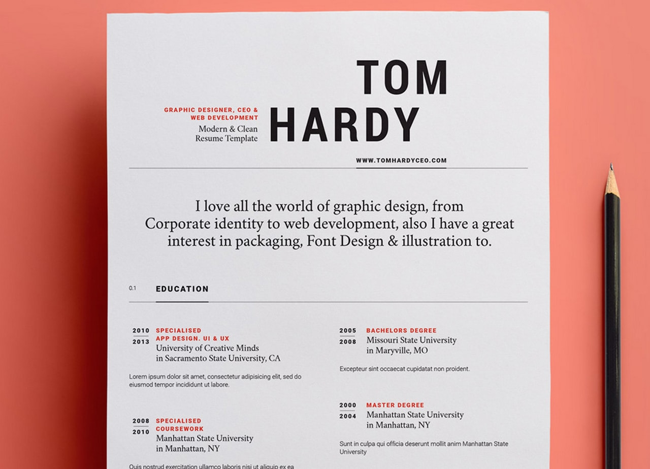 free and beautifully designed resume templates designmodo typography template simple Resume Typography Resume Template