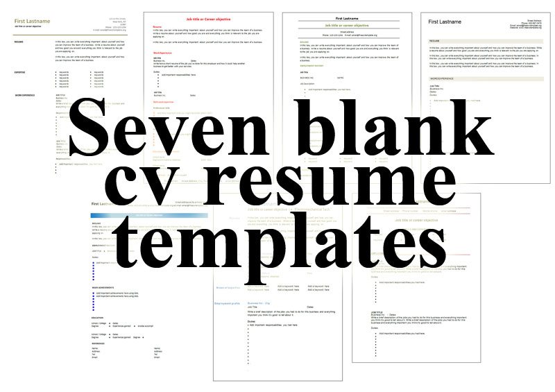 free blank cv resume templates for get windows seven buyer summary should case management Resume Windows 7 Resume Templates Free