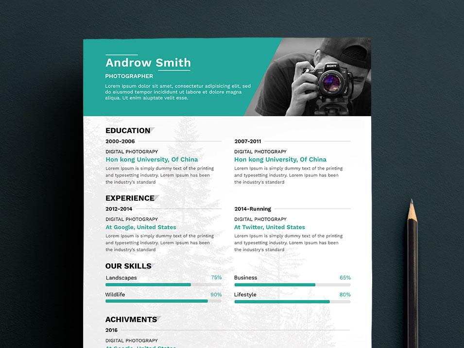 free clean photographers resume cv template in photoshop format creativebooster creative Resume Creative Photographer Resume Templates