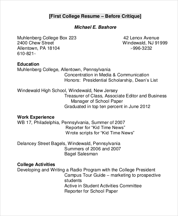 free college resume samples in ms word pdf good examples example for students2 indeed Resume Good College Resume Examples