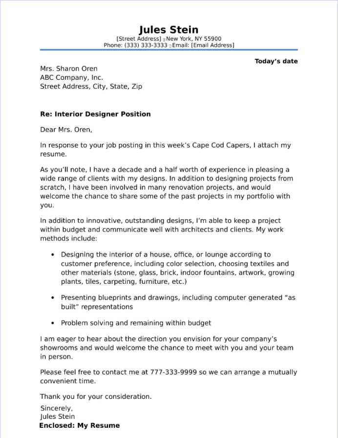 free cover letter samples for different jobs and careers interior design resume designer Resume Interior Design Resume Cover Letter