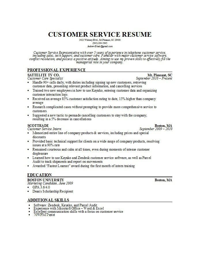 free customer service resume examples template downloads puppet linux federal Resume Customer Service Resume Template Free