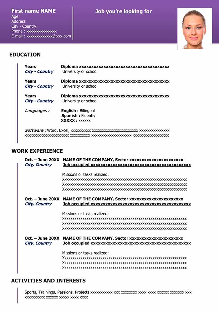 free downloadable resume template in word cv templates for organized purple experienced Resume Resume Templates For Word 2021