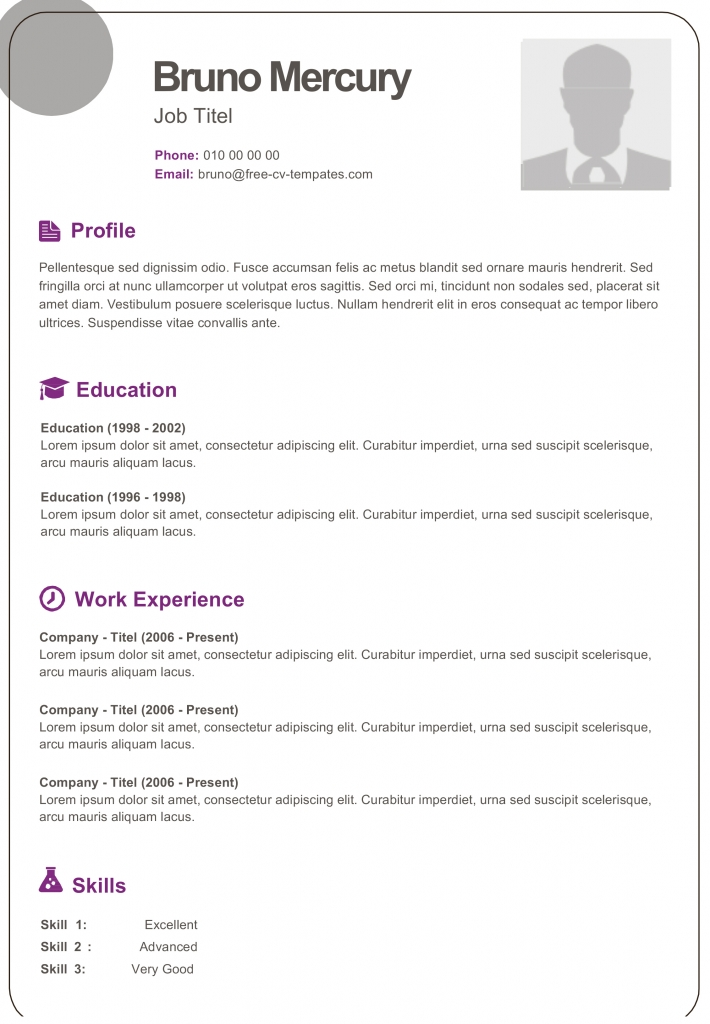 free dynamic cv templates land the job with our word resume bruno 710x1024 should put Resume Free Dynamic Resume Templates