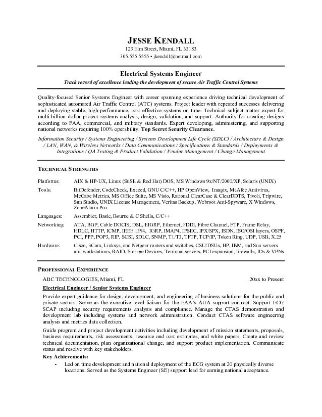 free electrical systems engineer resume example system format microsoft word jk page1 Resume System Engineer Resume Format