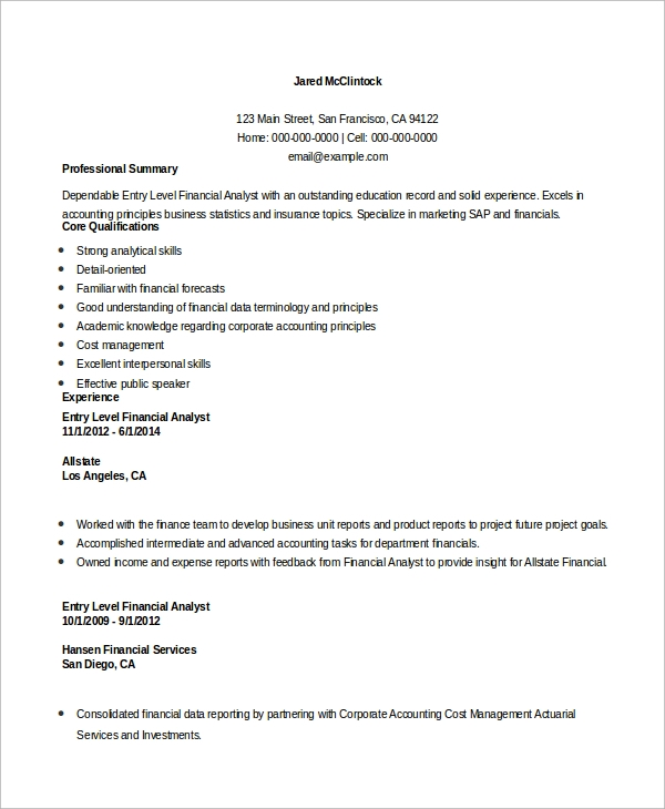 free entry level resume samples in ms word pdf sample for finance job financial analyst Resume Sample Resume For Entry Level Finance Job