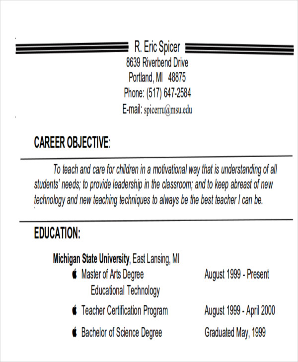 free examples of career objective templates in ms word pdf good job objectives for resume Resume Good Job Objectives For Resume