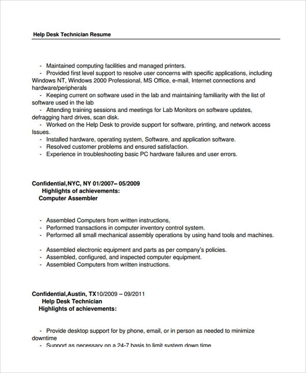 free help desk technician resume templates in pdf ms word support computer sample for ojt Resume Help Desk Support Resume