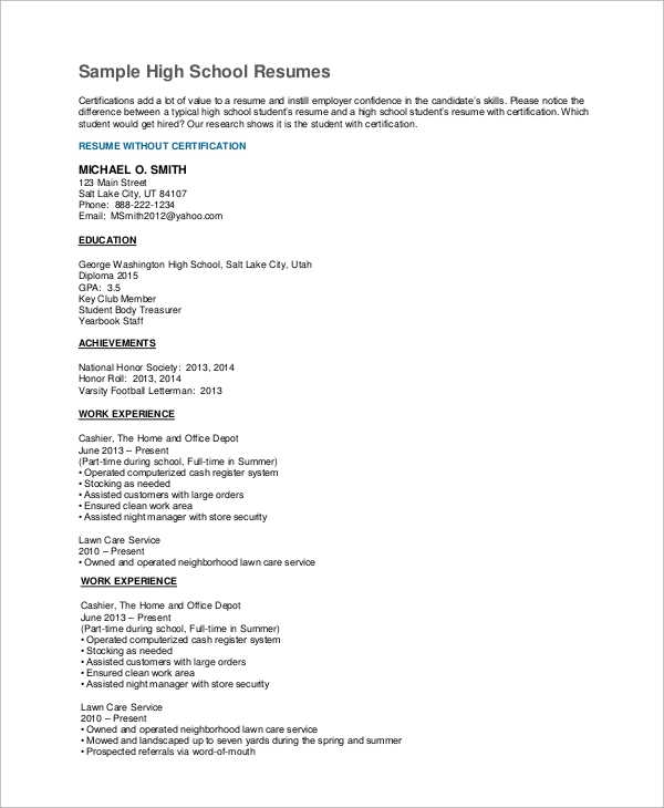 free high school resume samples in ms word pdf schooler sample experienced student Resume High Schooler High School Resume Sample