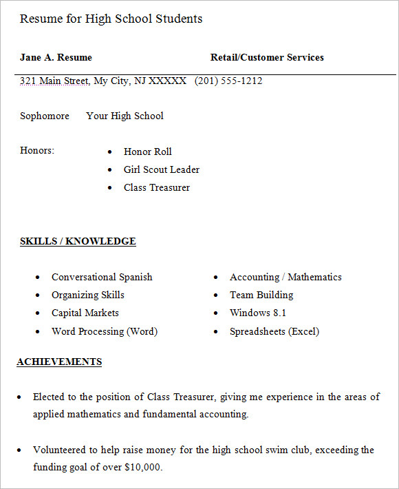free high school resume templates in pdf word retail for student students starter Resume Retail Resume For High School Student