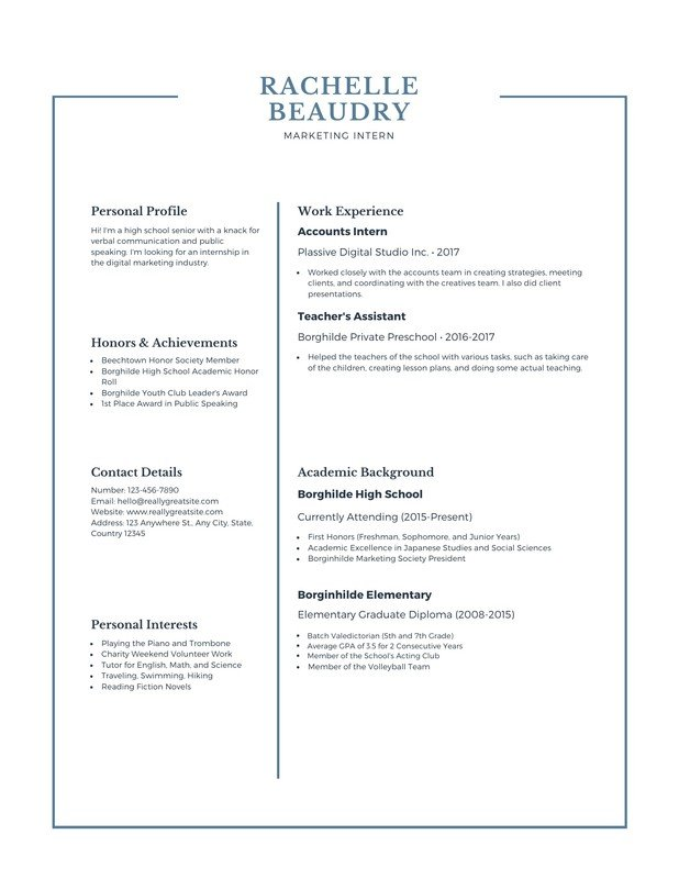 free high school resumes templates to customize canva resume builder for college blue Resume High School Resume Builder For College