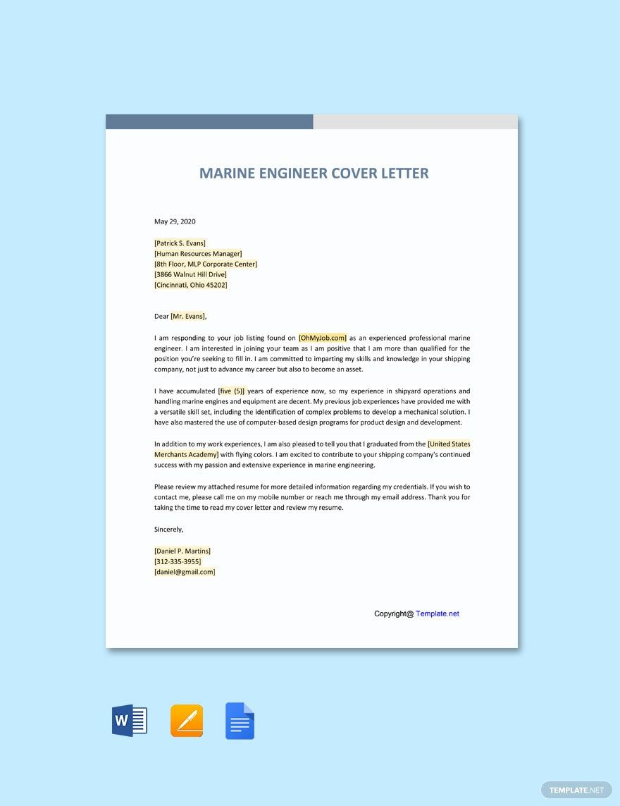 free marine engineering cover letter template word google docs in templates format for Resume Cover Letter Format For Resume For Marine Engineer