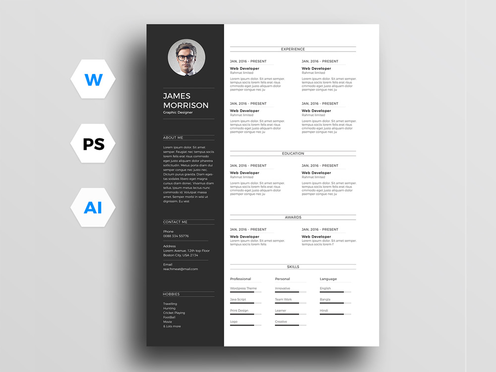 free minimal resume template for word illustrator and photoshop design system analyst Resume Resume Design Illustrator