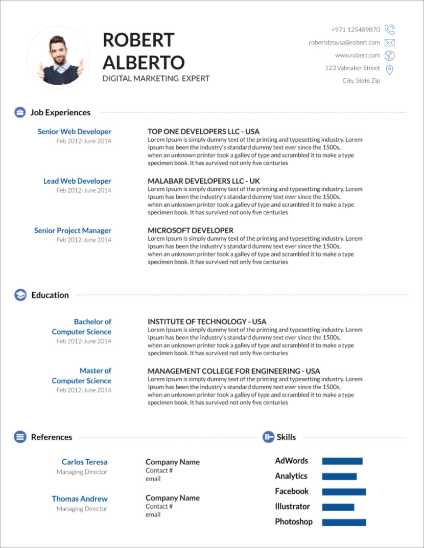 free modern resume cv templates minimalist simple clean design format template word Resume Resume Format Template Word