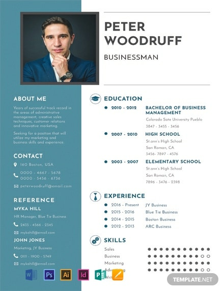 free one resume templates word indesign apple publisher illustrator template net business Resume One Page Resume Template Word Free
