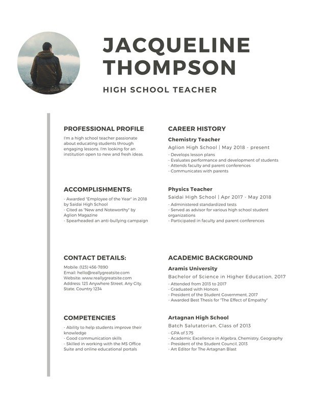 free professional resume templates to customize canva high school minimalist with photo Resume Professional High School Resume
