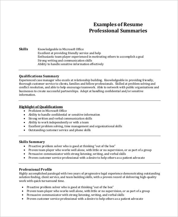 free resume summary templates in pdf ms word good customer service for professional Resume Good Customer Service Summary For Resume