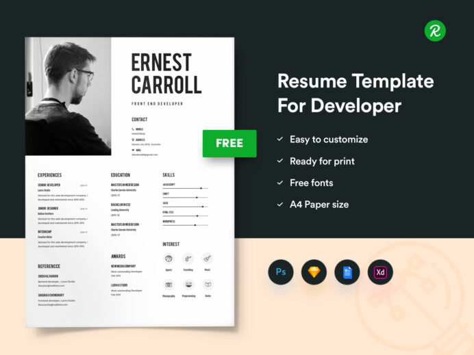 free resume template for developers with portfolio get sketch templates thumbnail action Resume Resume Portfolio Template Free