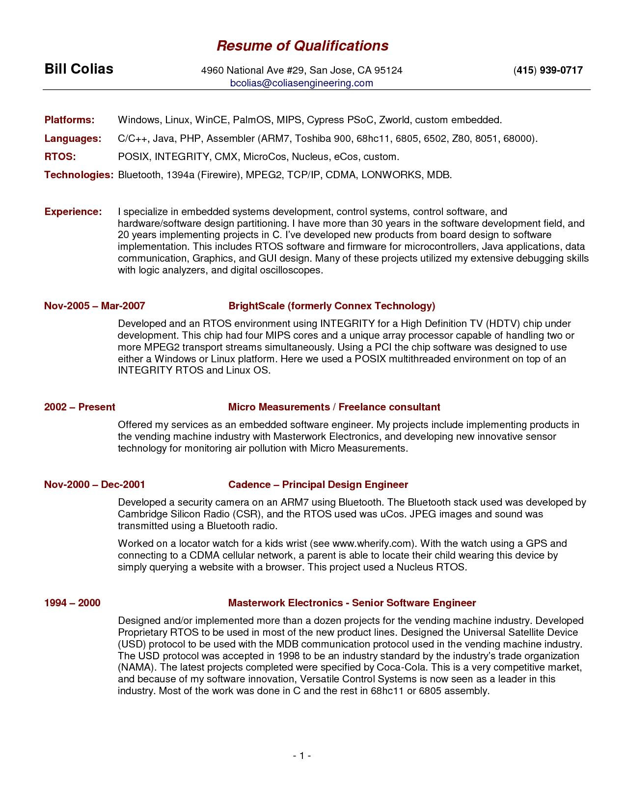 free resume template summary qualifications skills examples professional qualification Resume Resume Qualification Format