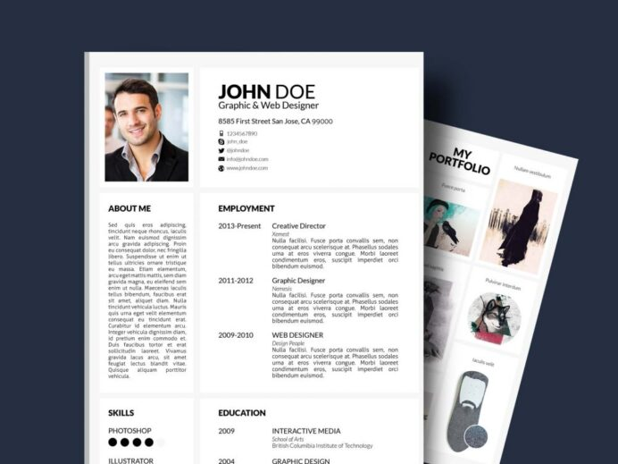free resume template with portfolio and cover letter resumekraft 1000x750 caregiver Resume Resume Portfolio Template Free