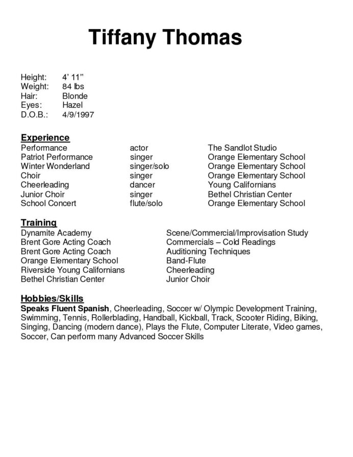 free resume templates for youth examples acting cover letter template computer literate Resume Computer Literate Resume Sample