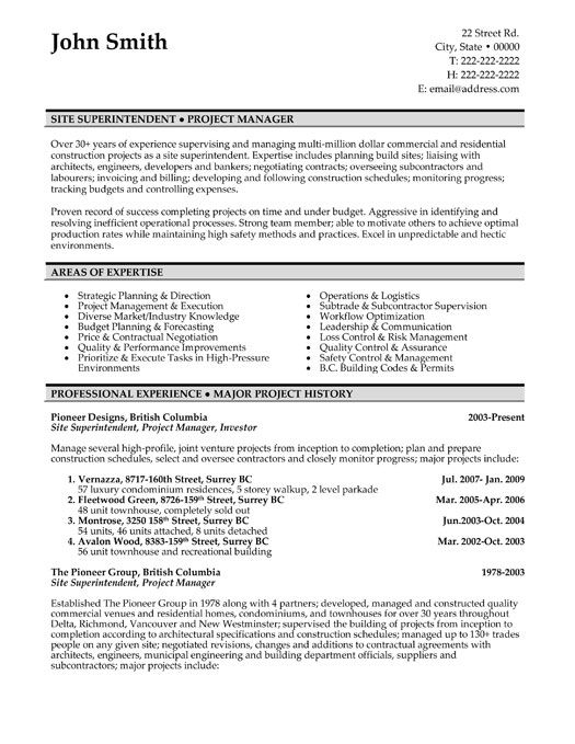 free resume templates project manager sample template landscape supervisor sjvc optimal Resume Canadian Resume Template Free