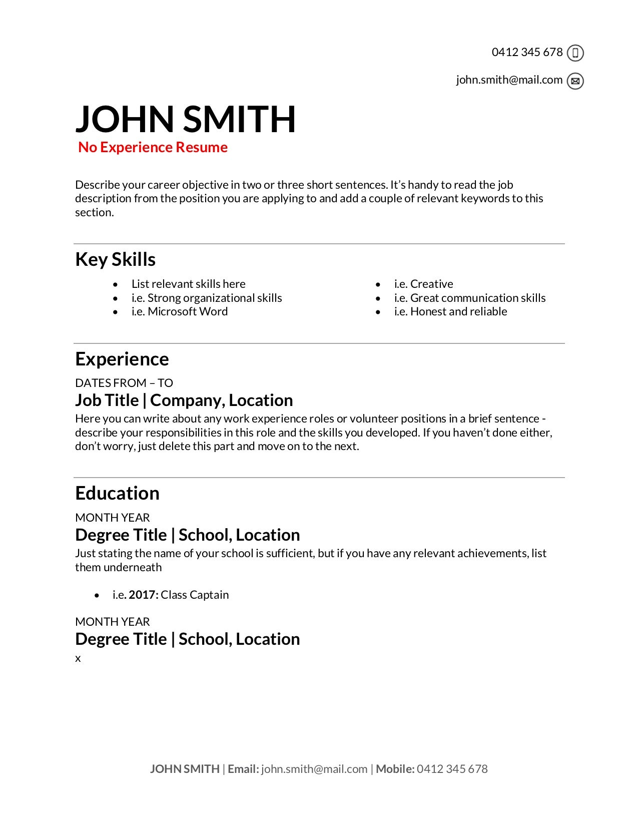 free resume templates to write in training au retail for high school student no Resume Retail Resume For High School Student
