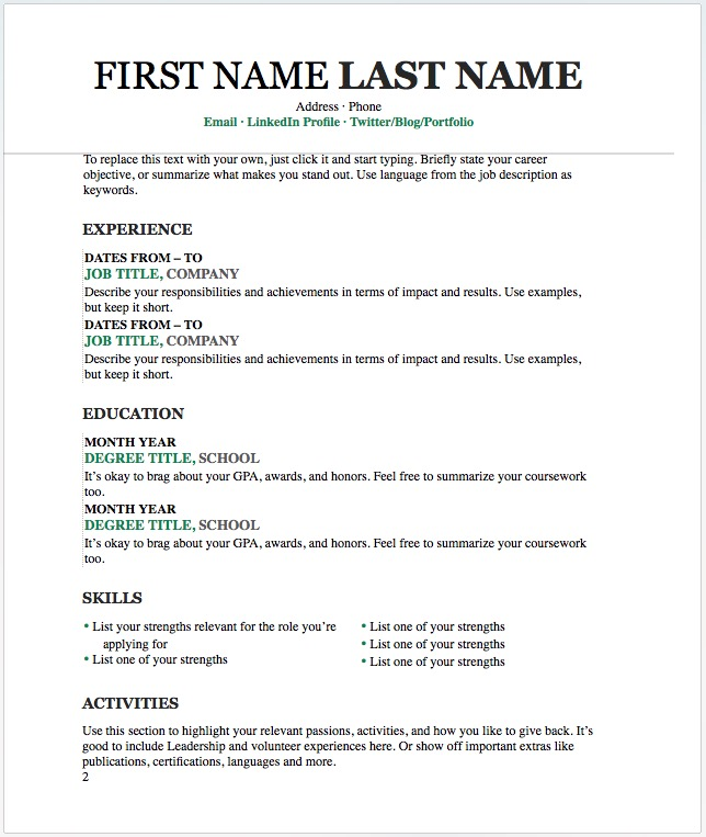 free resume word templates to impress your employer responsive muse widgets the template Resume The Muse Resume Templates