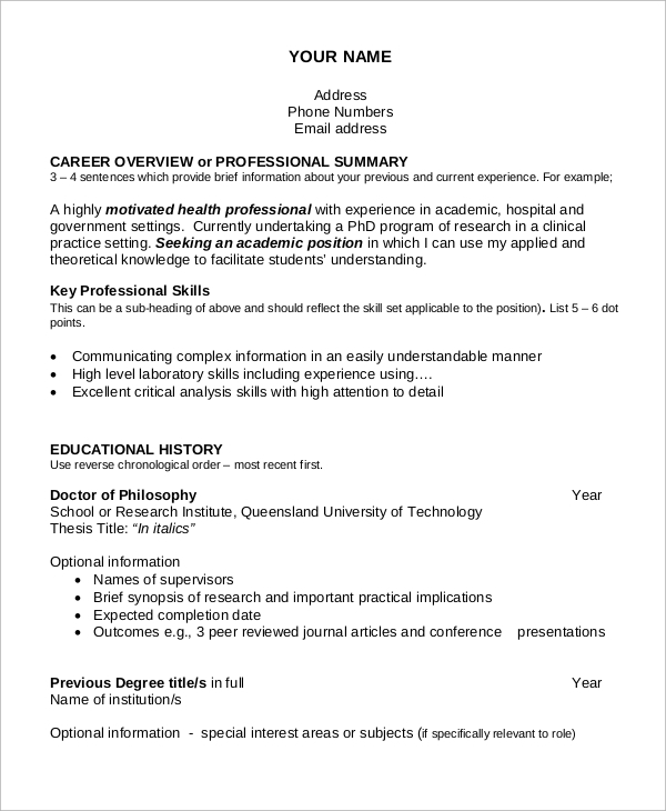 free sample academic resume templates in ms word pdf professional experience libreoffice Resume Professional Academic Resume