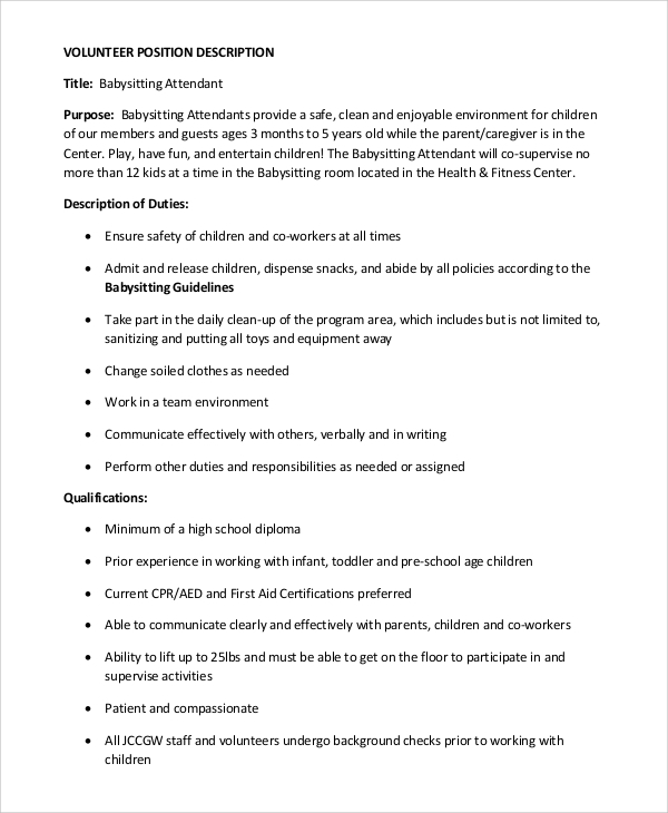 free sample babysitter resume templates in ms word pdf job description for kelly services Resume Babysitter Job Description For Resume