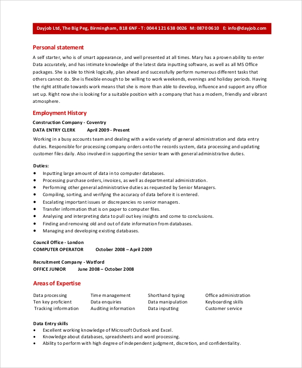 free sample data entry resume templates in pdf ms word publisher best format for computer Resume Best Resume Format For Computer Operator