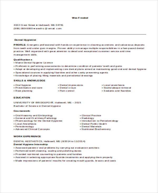 free sample dental hygienist resume templates in ms word pdf hygiene examples entry level Resume Dental Hygiene Resume Examples