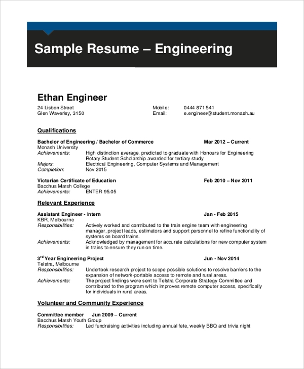 free sample engineering cv templates in pdf ms word best resume format for computer Resume Best Resume Format For Computer Engineers