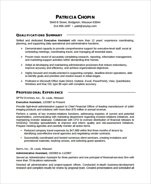 free sample executive assistant resume templates in ms word pdf examples for Resume Free Resume Examples For Administrative Assistant