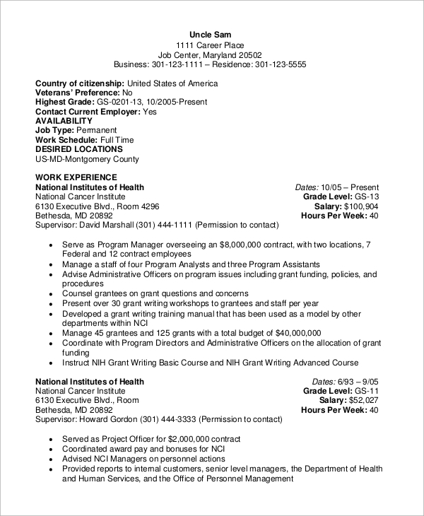 free sample federal resume templates in ms word pdf government samples education or Resume Government Resume Samples