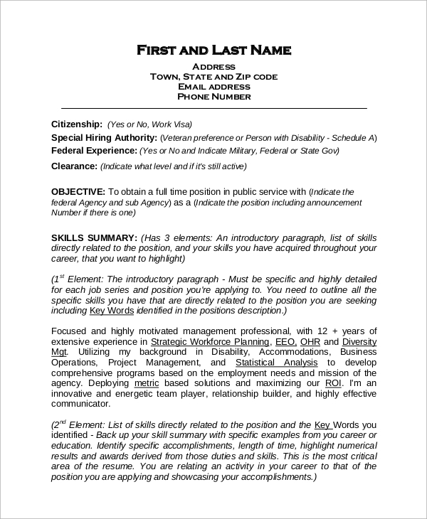 free sample federal resume templates in ms word pdf template job format experienced Resume Free Federal Resume Template