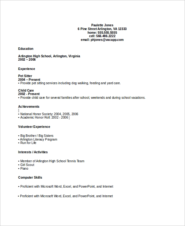 free sample high school cv templates in ms word pdf graduate job resume without Resume High School Graduate Job Resume