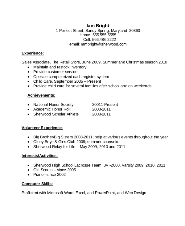 free sample high school cv templates in ms word pdf resume template with experience Resume Free High School Resume Template
