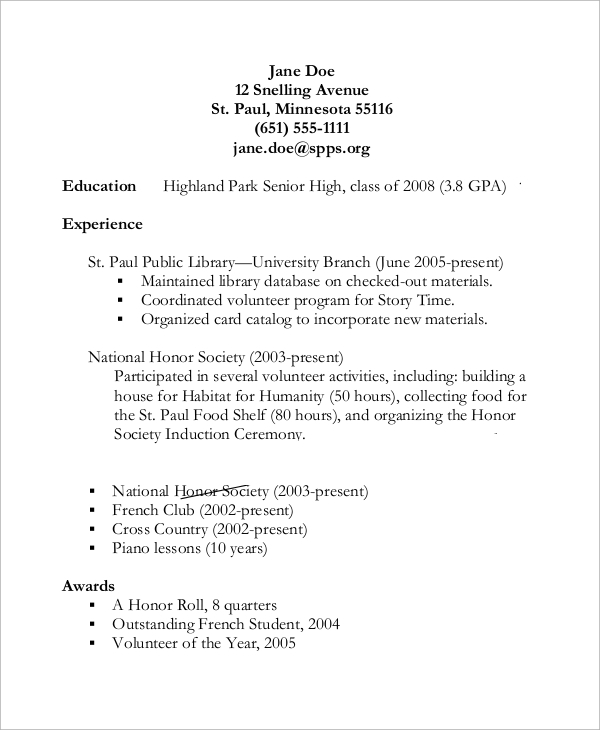 free sample high school resume templates in pdf ms word for college student samples of Resume Sample High School Resume For College
