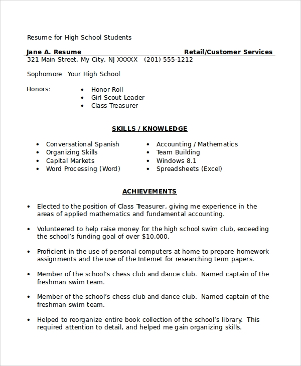 free sample high school student resume templates in ms word pdf retail for starter Resume Retail Resume For High School Student