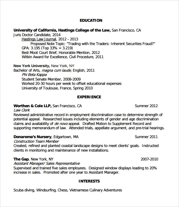 free sample legal resume templates in pdf ms word interests for law example of scrum Resume Interests For Law Resume