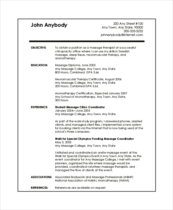 free sample massage therapist resume templates in pdf for beginners experienced simple Resume Massage Therapist Resume For Beginners