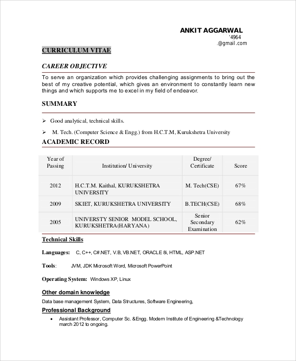 free sample objective for resume templates in ms word pdf technical software engineer Resume Objective For Technical Resume