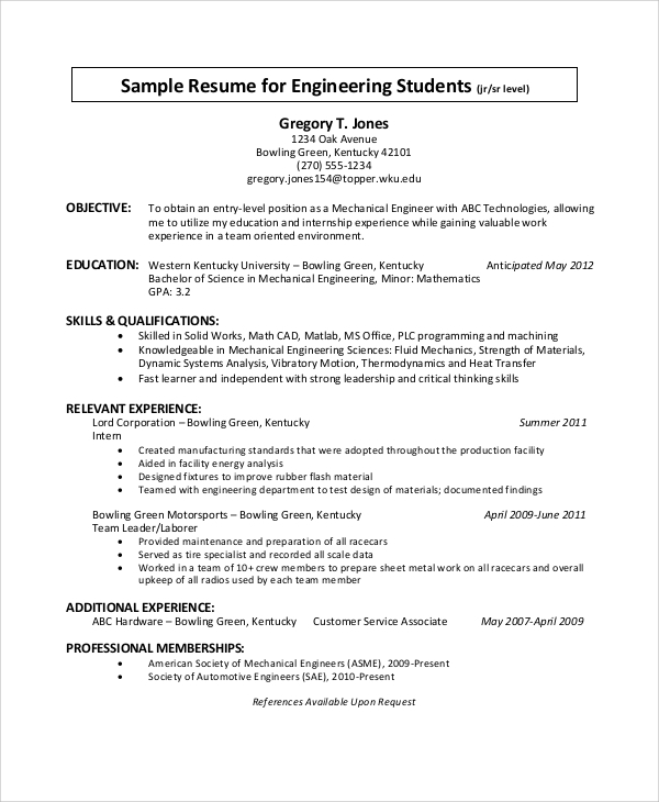 free sample objective statement for resume templates in pdf technical engineering student Resume Objective For Technical Resume