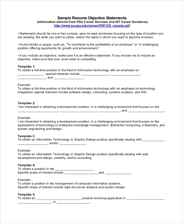 free sample objectives for resume templates in pdf ms word catchy objective statements Resume Catchy Resume Objective Statements