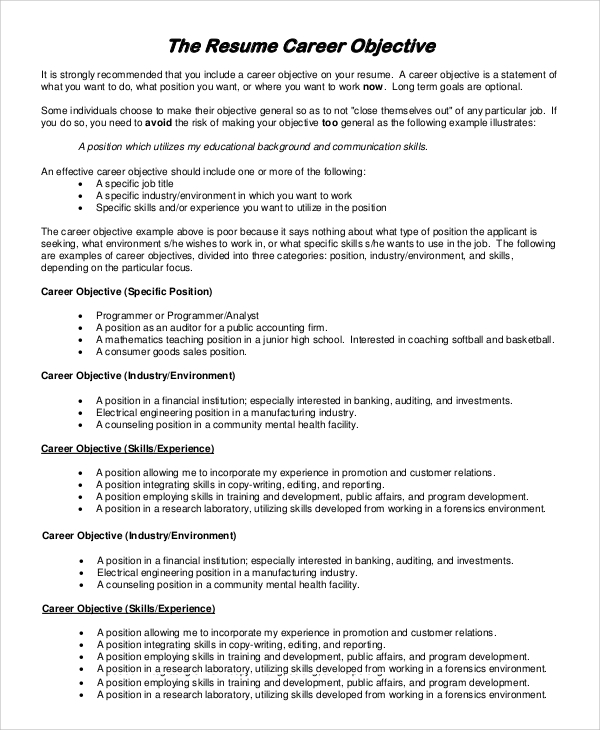 free sample objectives for resume templates in pdf ms word good job career objective1 Resume Good Job Objectives For Resume