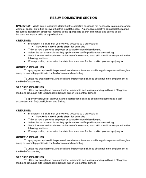 free sample objectives in pdf ms word good job for resume objective section mechanical Resume Good Job Objectives For Resume