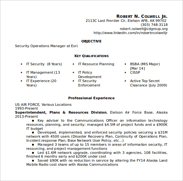 free sample operations manager resume templates in pdf ms word security director digital Resume Security Director Resume